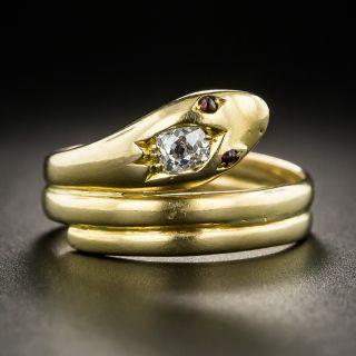 English Victorian 18K Diamond Snake Ring - 2