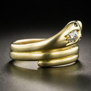 English Victorian 18K Diamond Snake Ring
