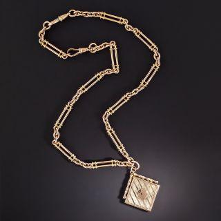 English Victorian Albert Chain Locket Necklace   - 1