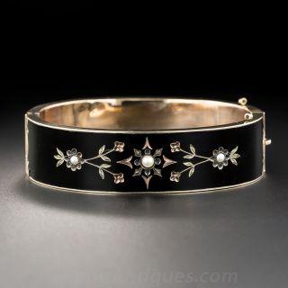 English Victorian Black Enamel Bangle Bracelet