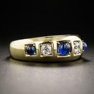 English Victorian Cabochon Sapphire and Diamond Ring