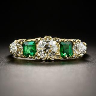 English Victorian Diamond Emerald Five-Stone Ring - 2