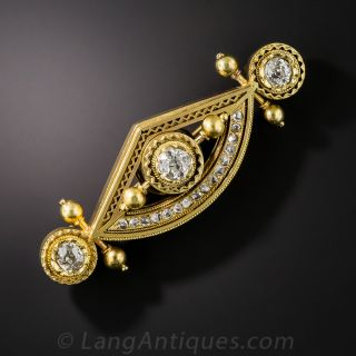 English Victorian Diamond Bar Pin