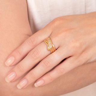 English Victorian Diamond Snake Ring - Size 9