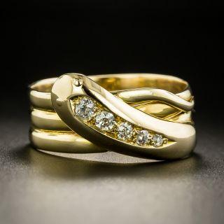 English Victorian Diamond Snake Ring - Size 9 - 2