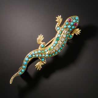 English Victorian Diamond Turquoise Salamander Brooch - 2