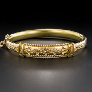 English Victorian Etruscan Revival Bangle Bracelet