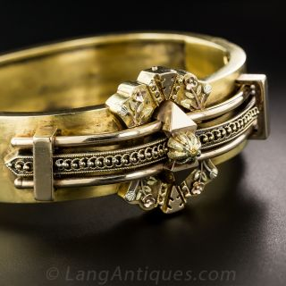 English Victorian Etruscan Revival Hinged Bangle