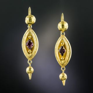 English Victorian Garnet Drop Earrings - 2