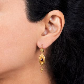 English Victorian Garnet Drop Earrings
