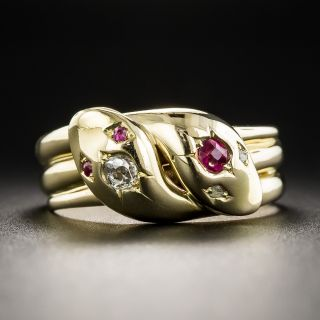 English Victorian Ruby and Diamond Double Snake Ring