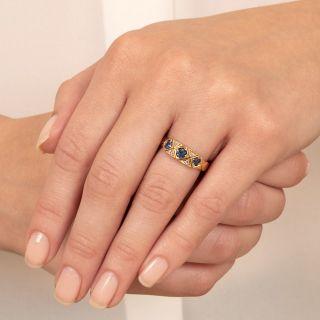 English Victorian Sapphire and Diamond Band Ring, c.1896