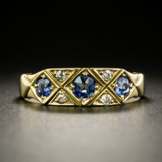 English Victorian Sapphire and Diamond Band Ring, c.1896 - 2