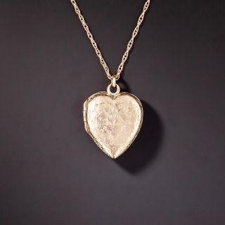 Victorian Small Engraved Heart Locket, English - 1