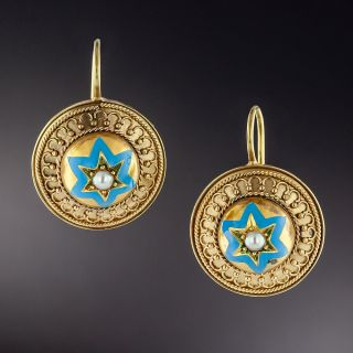 English Victorian Star Earrings - 1