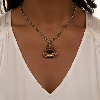 English Victorian Three-Sided Agate Watch Fob Necklace