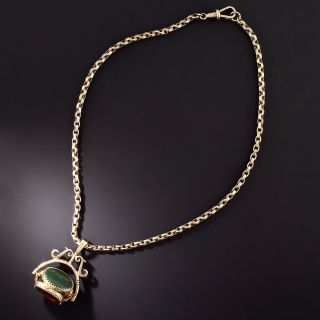 English Victorian Three-Sided Agate Watch Fob Necklace - 1