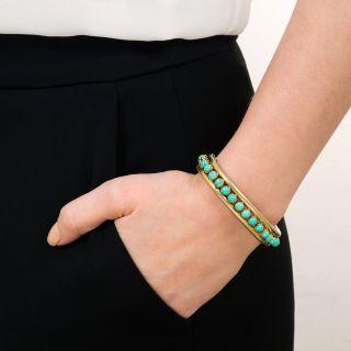 English Victorian Turquoise Bangle Bracelet