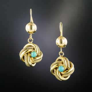 English Victorian Turquoise Knot Earrings - 2
