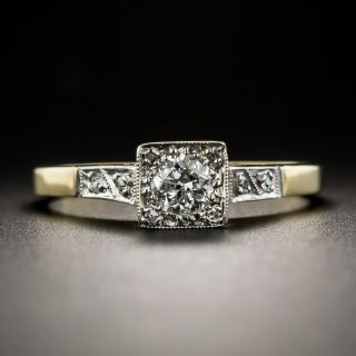 English Vintage .30 Ct. Diamond Solitaire Engagement Ring - 2