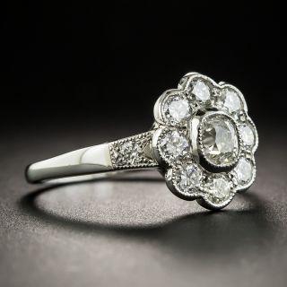 English Vintage Style Platinum Diamond Cluster Ring