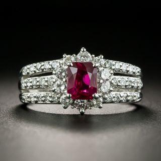 Estate 1.00 Carat Burmese Ruby and Diamond Ring - GIA - 1