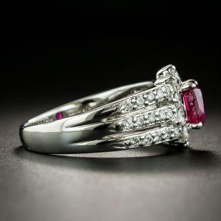 Estate 1.00 Carat Burmese Ruby and Diamond Ring - GIA