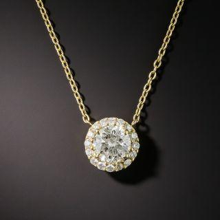 Estate 1.00 Carat Center Diamond Cluster Drop - GIA - 1