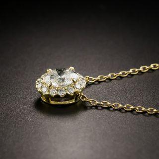 Estate 1.00 Carat Center Diamond Cluster Drop - GIA