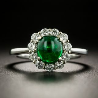 Estate 1.00 Carat Emerald Cabochon and Diamond Ring - 3