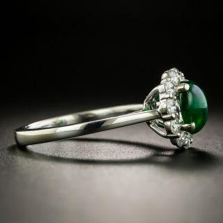 Estate 1.00 Carat Emerald Cabochon and Diamond Ring