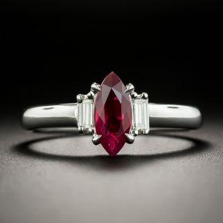 Estate 1.00 Carat Marquise Burma Ruby and Diamond Ring - 1