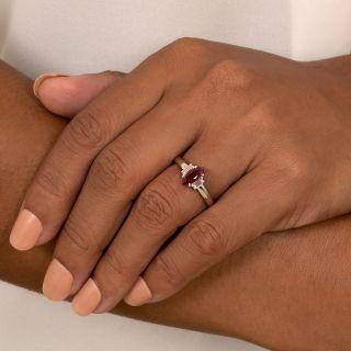 Estate 1.00 Carat Marquise Burma Ruby and Diamond Ring