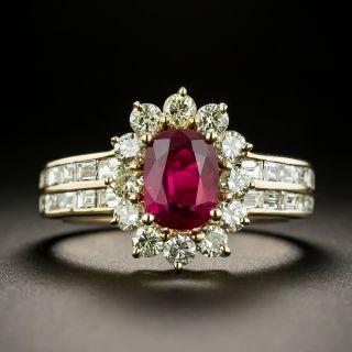 Estate 1.00 Carat Ruby and Diamond Halo Ring - 2