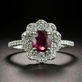 Estate 1.01 Carat No-Heat Ruby and Diamond Ring - GIA - 1