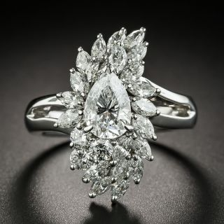 Estate 1.01 Ct. Pear Shape Diamond Platinum Ring - GIA D SI2 - 1