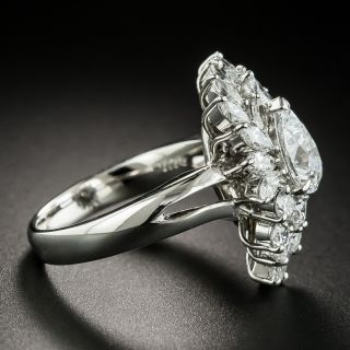 Estate 1.01 Ct. Pear Shape Diamond Platinum Ring - GIA D SI2