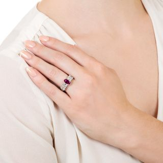 Estate 1.02 Carat No-Heat Ruby and Diamond Ring - GIA