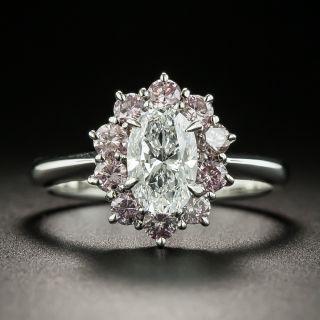 Estate 1.02 Carat Oval-Cut Diamond and Pink Diamond Ring - GIA D VS2 - 1