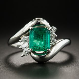 Estate 1.03 Carat Emerald and Diamond Ring - 1