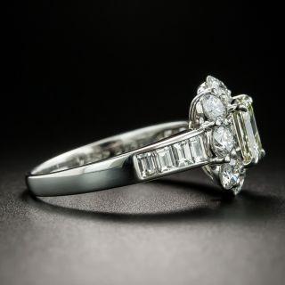 Estate 1.03 Carat Emerald-Cut Diamond Halo Ring - GIA