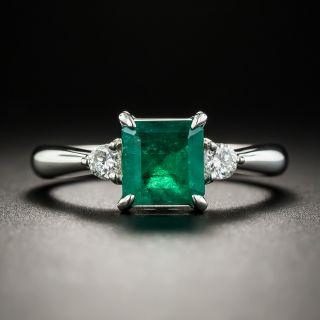 Estate 1.04 Carat Square Emerald Platinum Diamond Ring - 1
