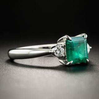 Estate 1.04 Carat Square Emerald Platinum Diamond Ring