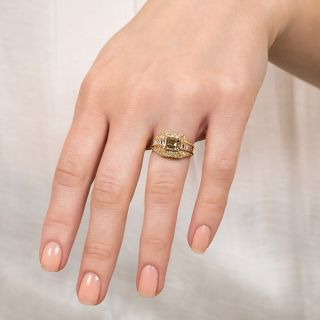 Estate 1.05 Carat Emerald-Cut Natural Fancy Brown-Yellow Diamond Ring - GIA