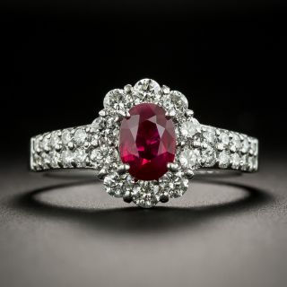 Estate 1.06 Carat Burma Ruby and Diamond Halo Ring - 2