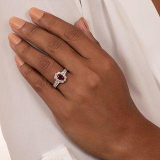 Estate 1.06 Carat Burma Ruby and Diamond Halo Ring