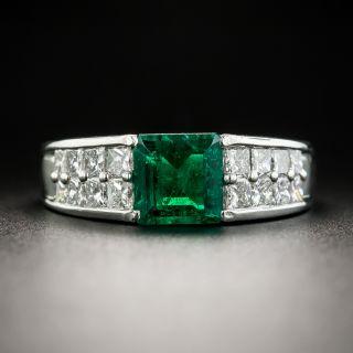 Estate 1.06 Carat Square-Cut Emerald and Diamond Ring - 1