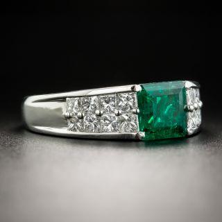 Estate 1.06 Carat Square-Cut Emerald and Diamond Ring