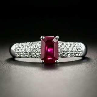 Estate 1.07 Carat Burmese Ruby and Diamond Ring - 1