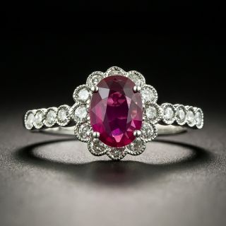 Estate 1.07 Carat No-Heat Ruby Diamond Ring - GIA - 1